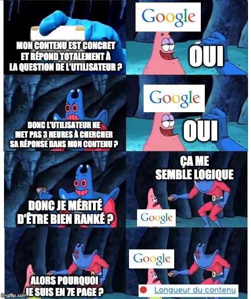 meme seo patrick etoile de mer google contenu
